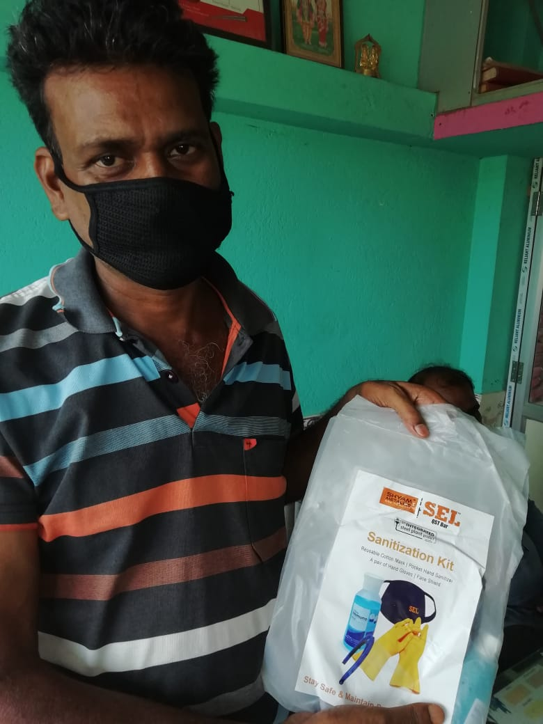 Shyam Metalics Sanitization Kit distribution